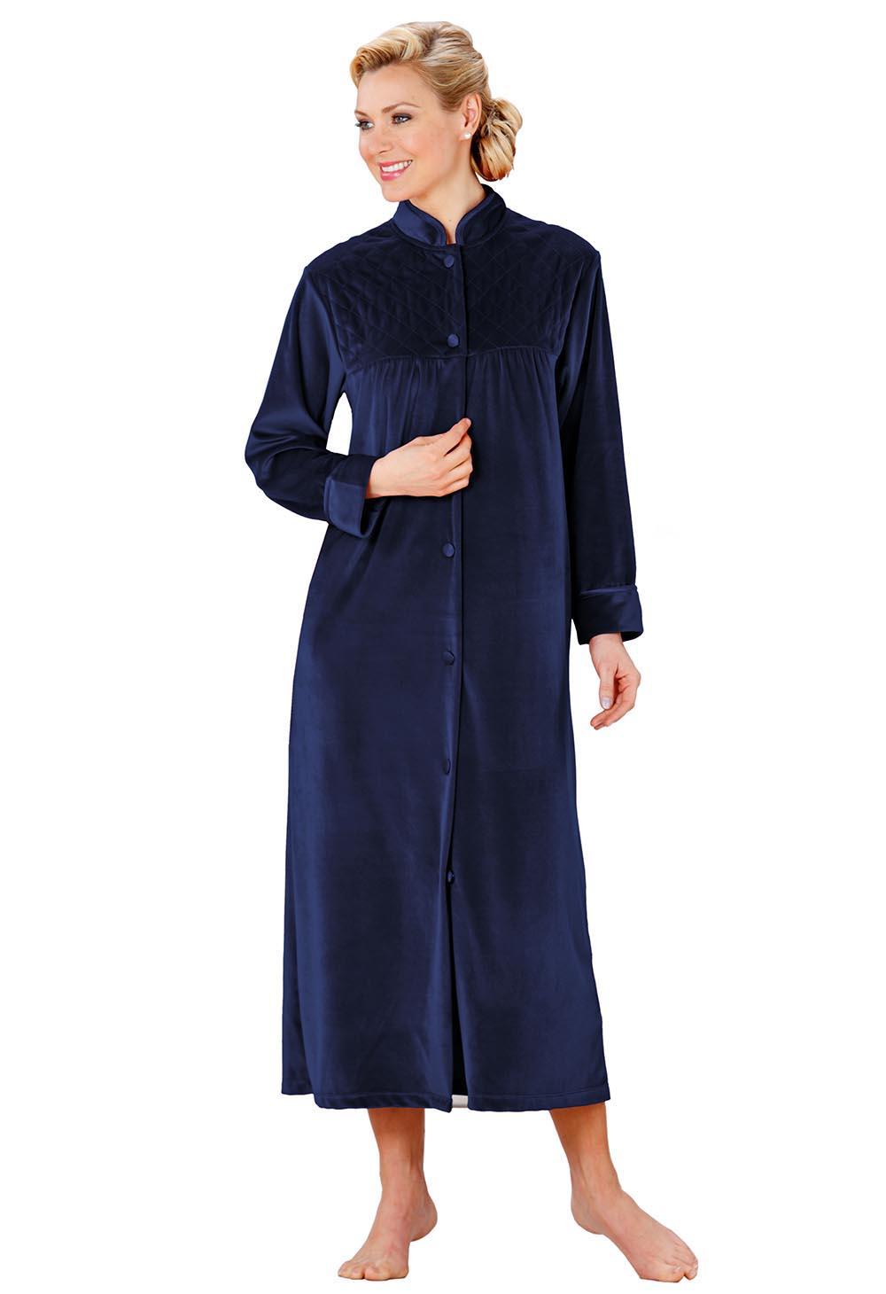 Robe De Chambre En Velours Bleu Bonheur